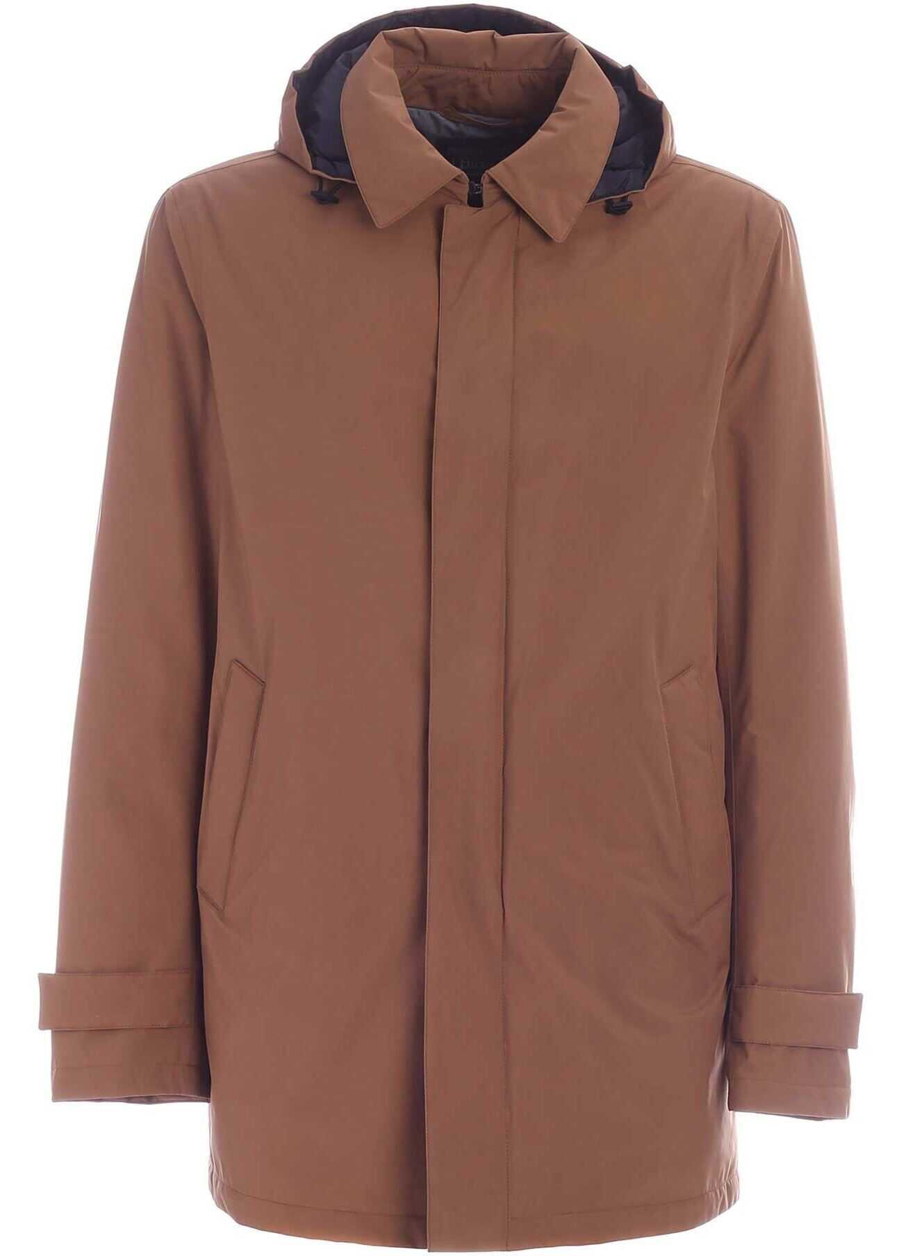 Herno Hooded Parka In Brown Brown imagine