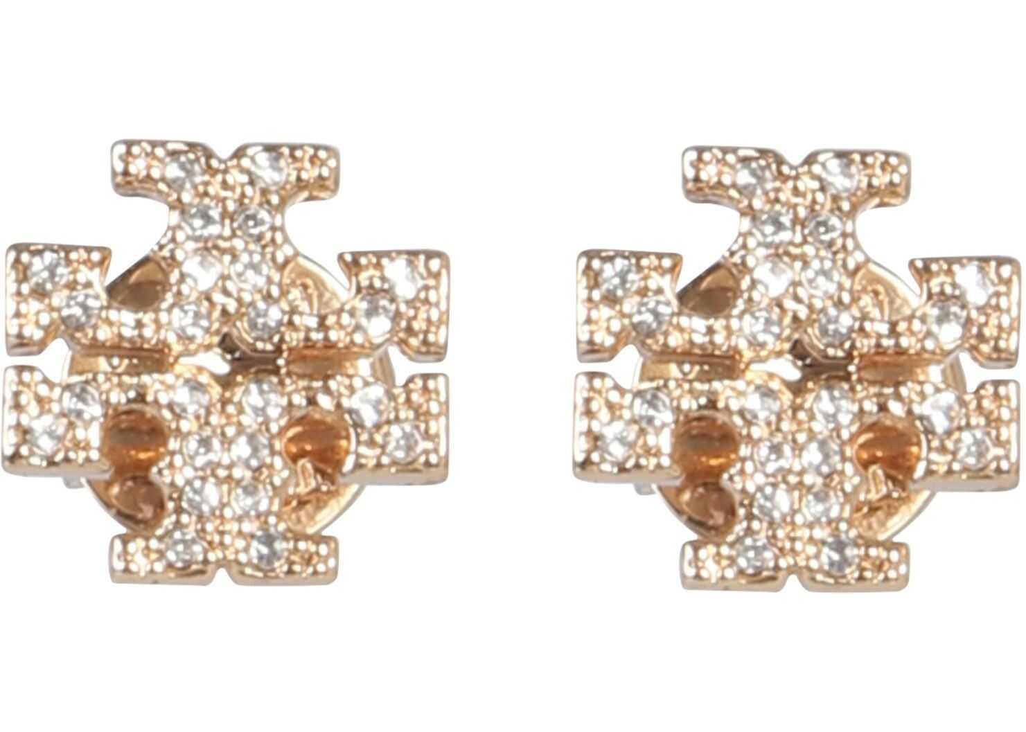 Tory Burch Crystal Logo Earrings GOLD
