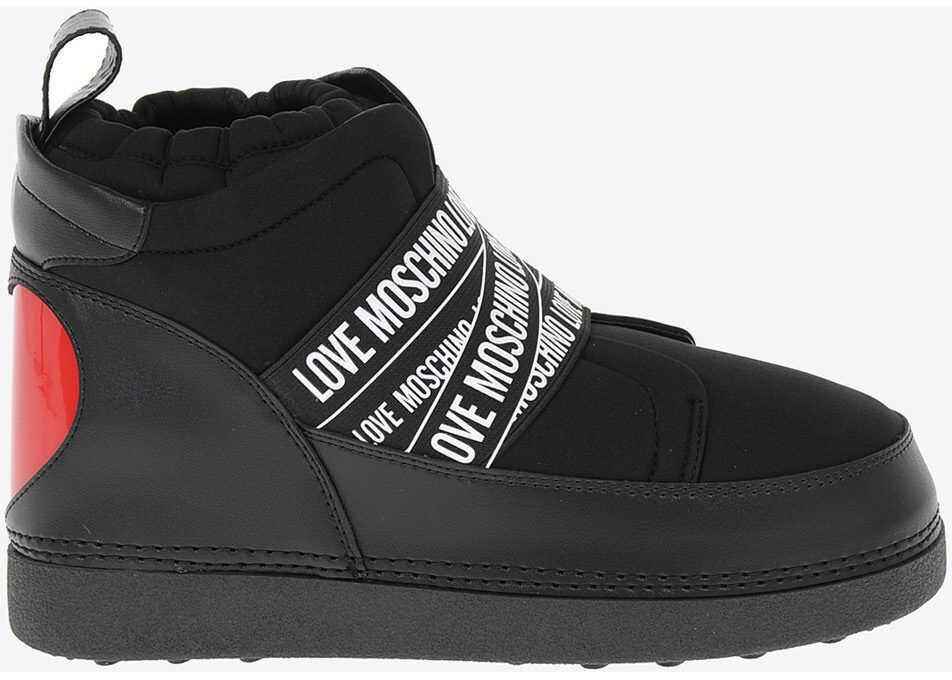 Moschino LOVE Fabric SKIBOOT Sneakers BLACK imagine b-mall.ro