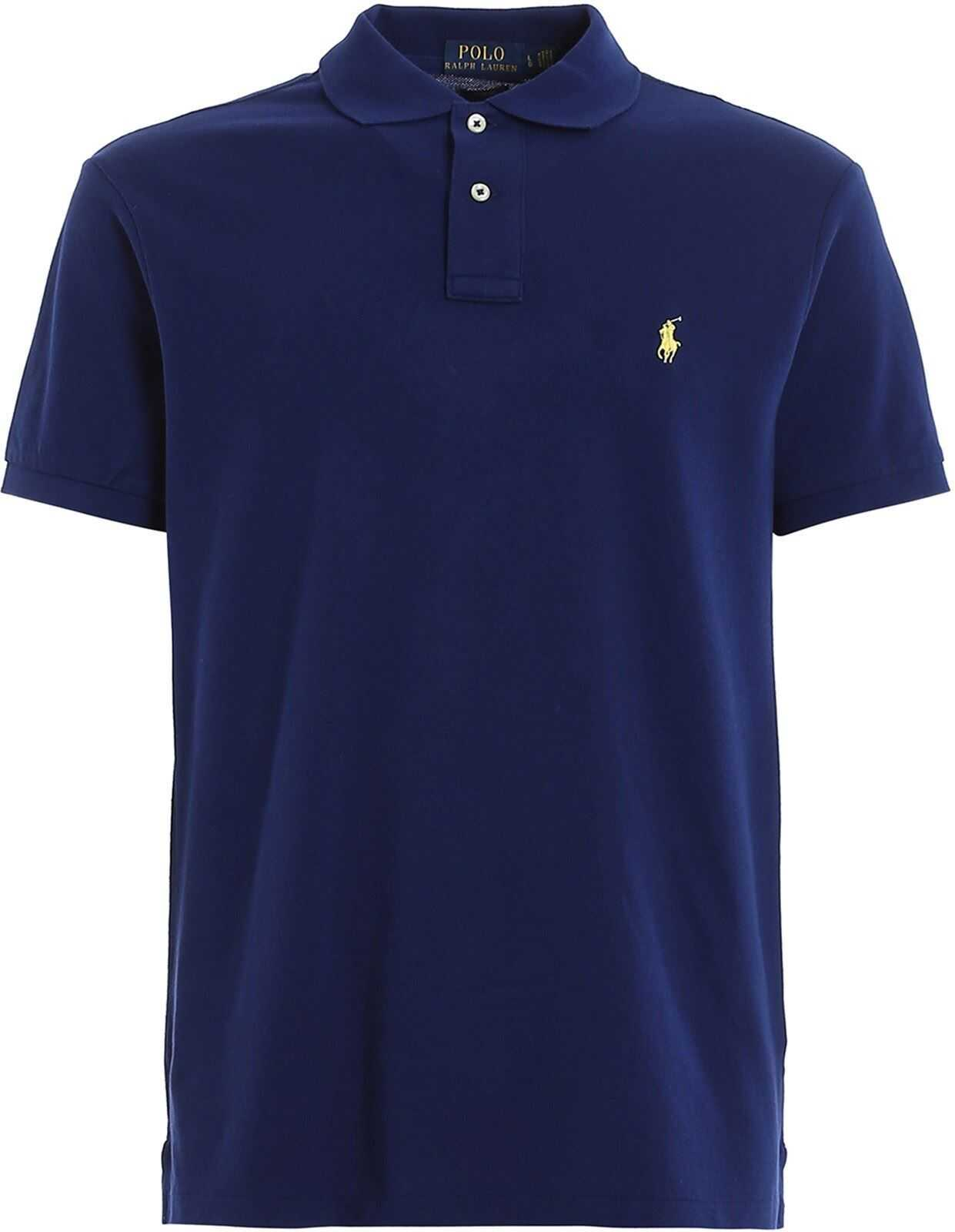 Ralph Lauren Dark Blue Slim Fit Cotton Pique Polo Blue imagine