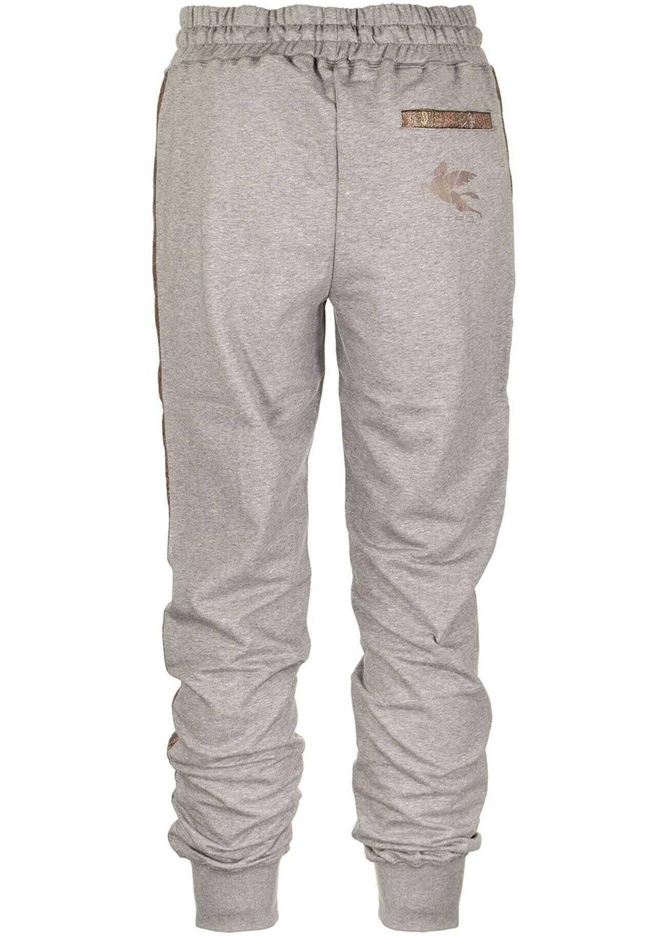 ETRO Paisley Stripe Jogging Trousers Grey imagine