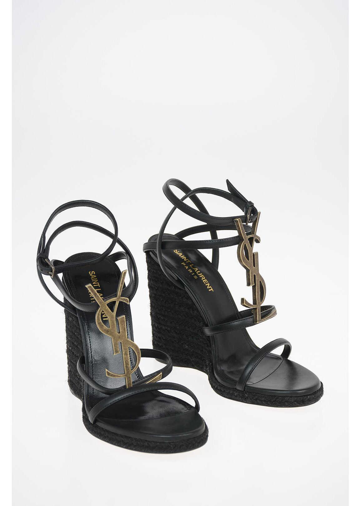 Saint Laurent Leather CASSANDRA Sandals with Platform Sole 11 Cm BLACK imagine b-mall.ro