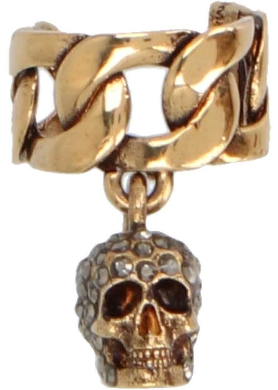 Alexander McQueen Skull Earcuff In Gold Color Gold