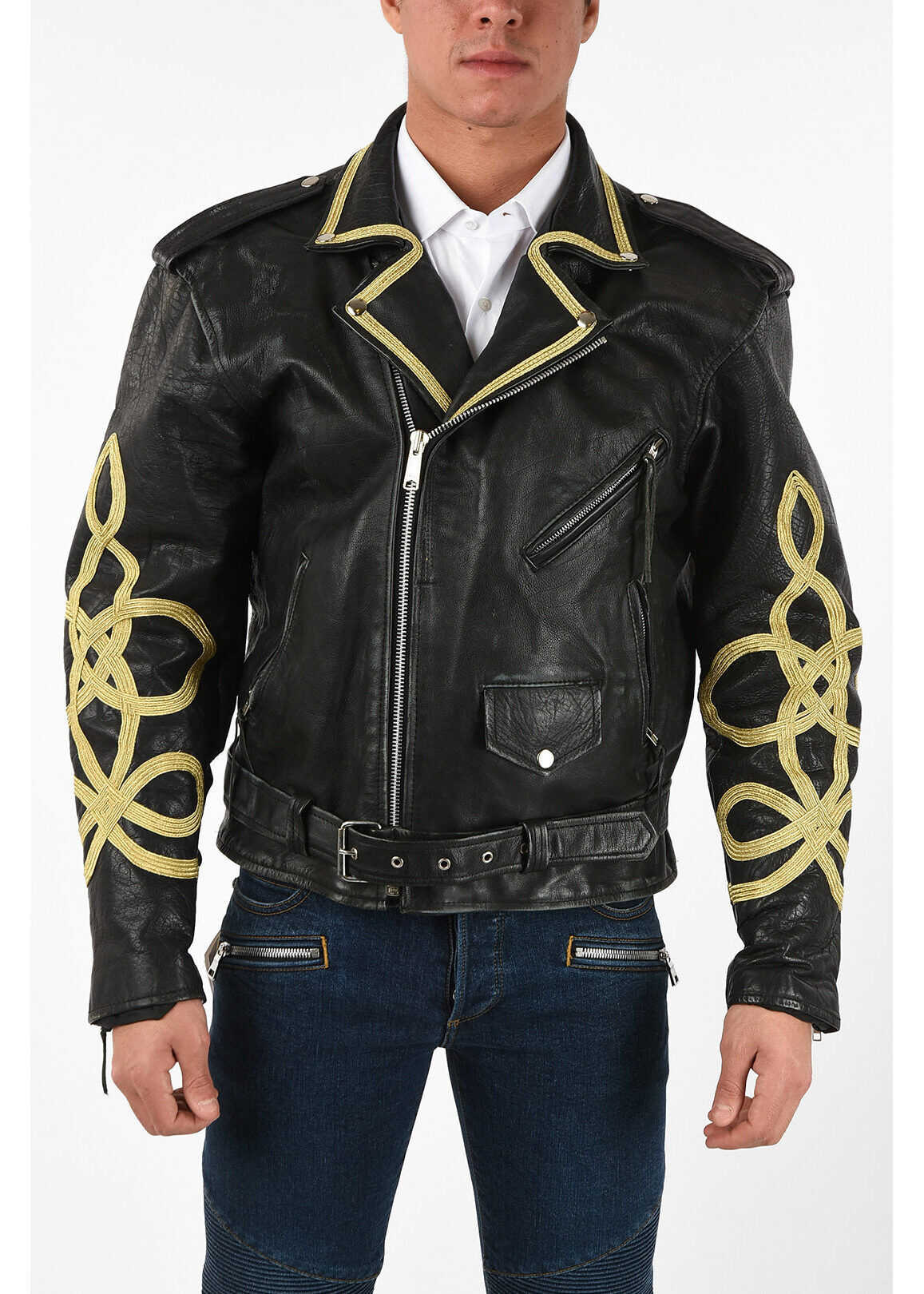 R13 Leather Biker Jacket With Embroidered Sleeves BLACK imagine