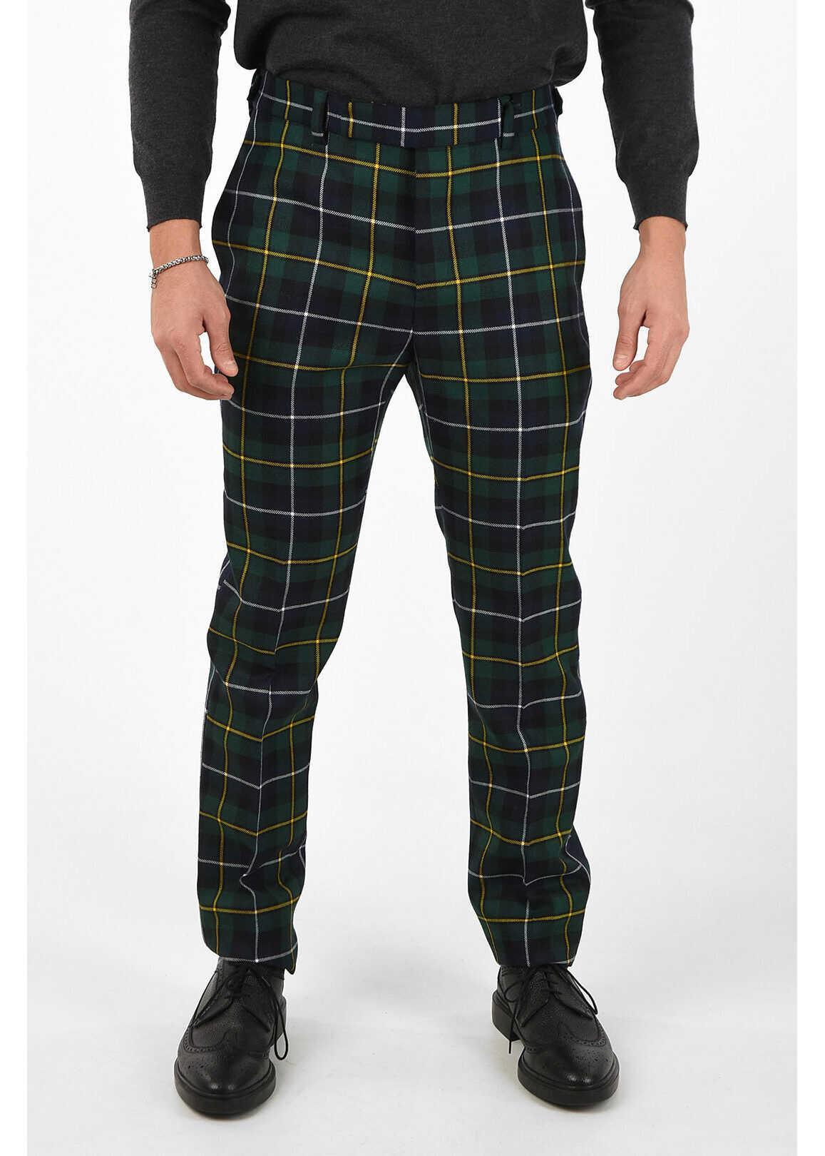 Versace plaid Mid waist plain hem trousers GREEN imagine