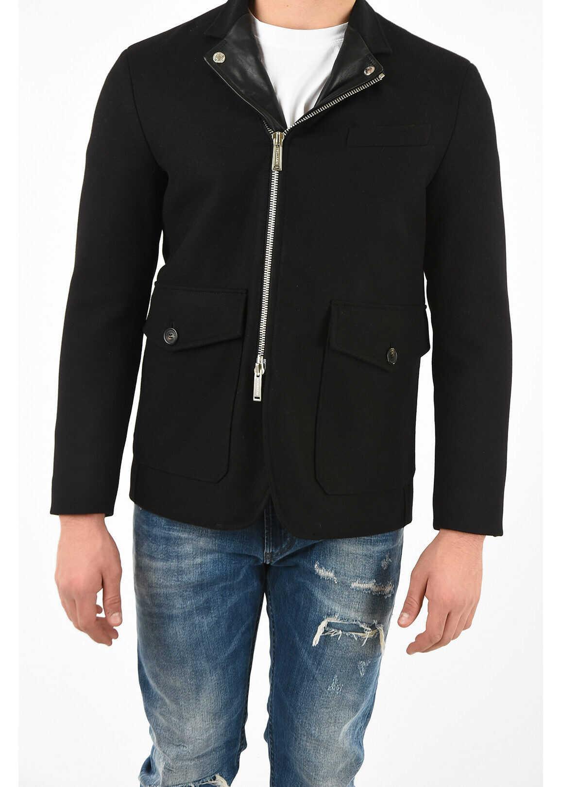 DSQUARED2 full zip coat with Leather Details BLACK imagine