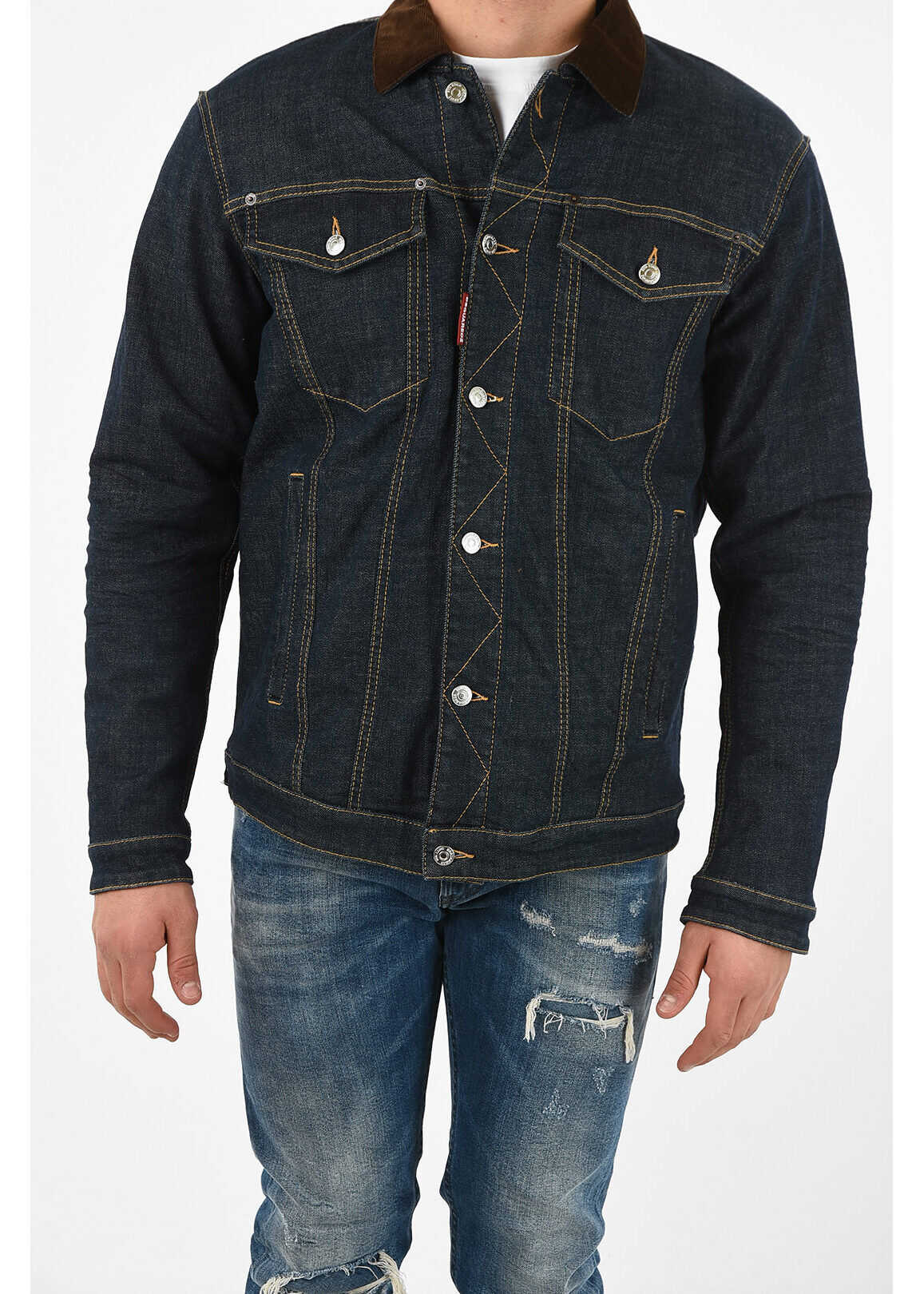DSQUARED2 denim OVER jacket with Veltev Detail BLUE imagine