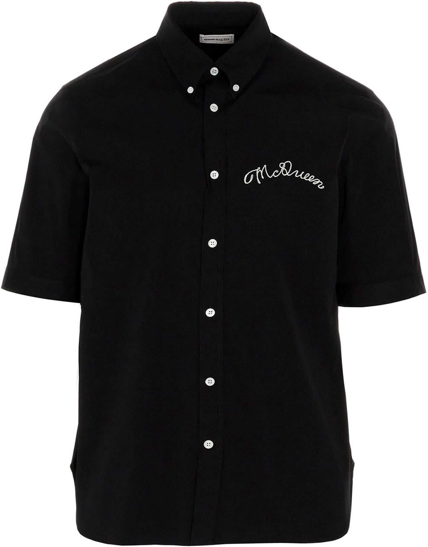 Alexander McQueen Short Sleeve Shirt In Black Black imagine