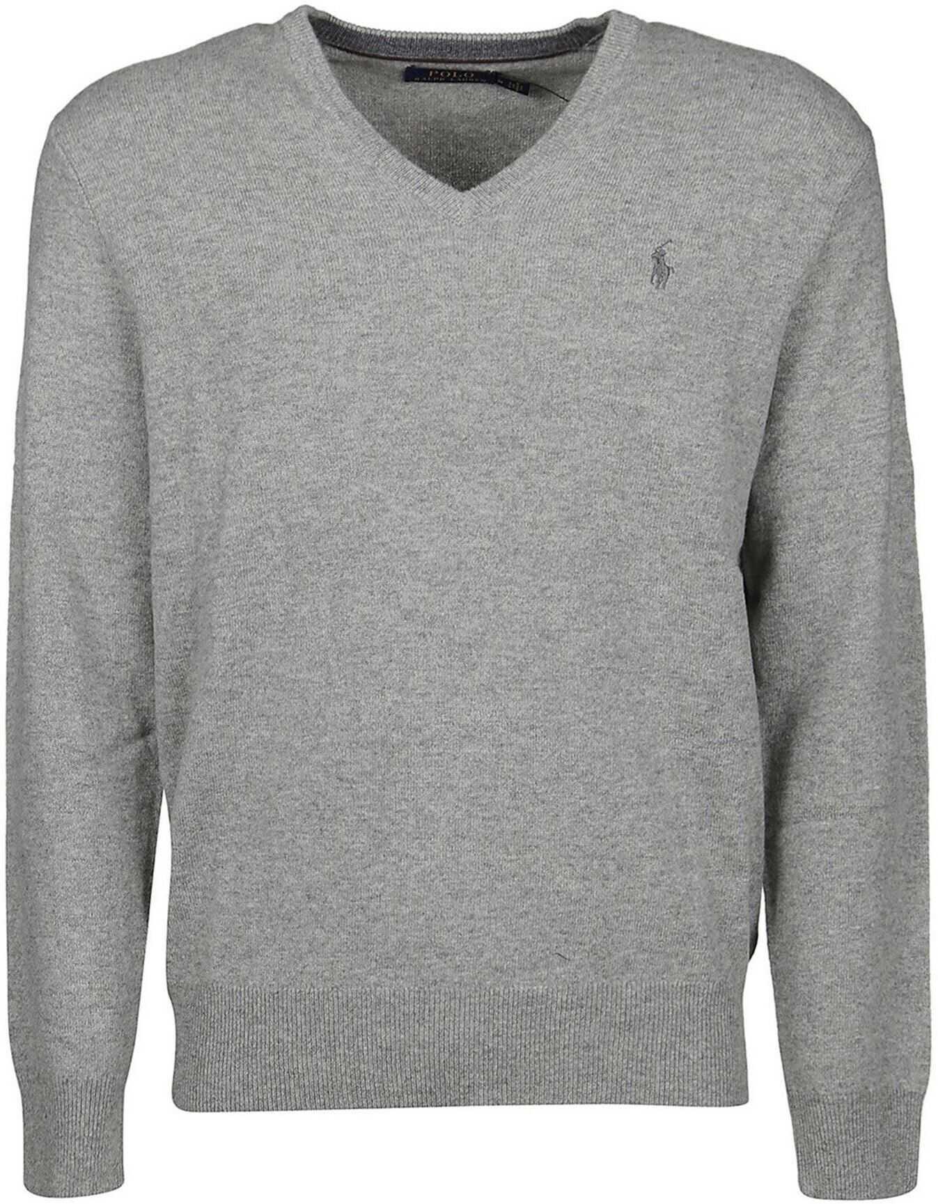 Ralph Lauren Merino Wool V Neck Pullover In Grey Grey imagine