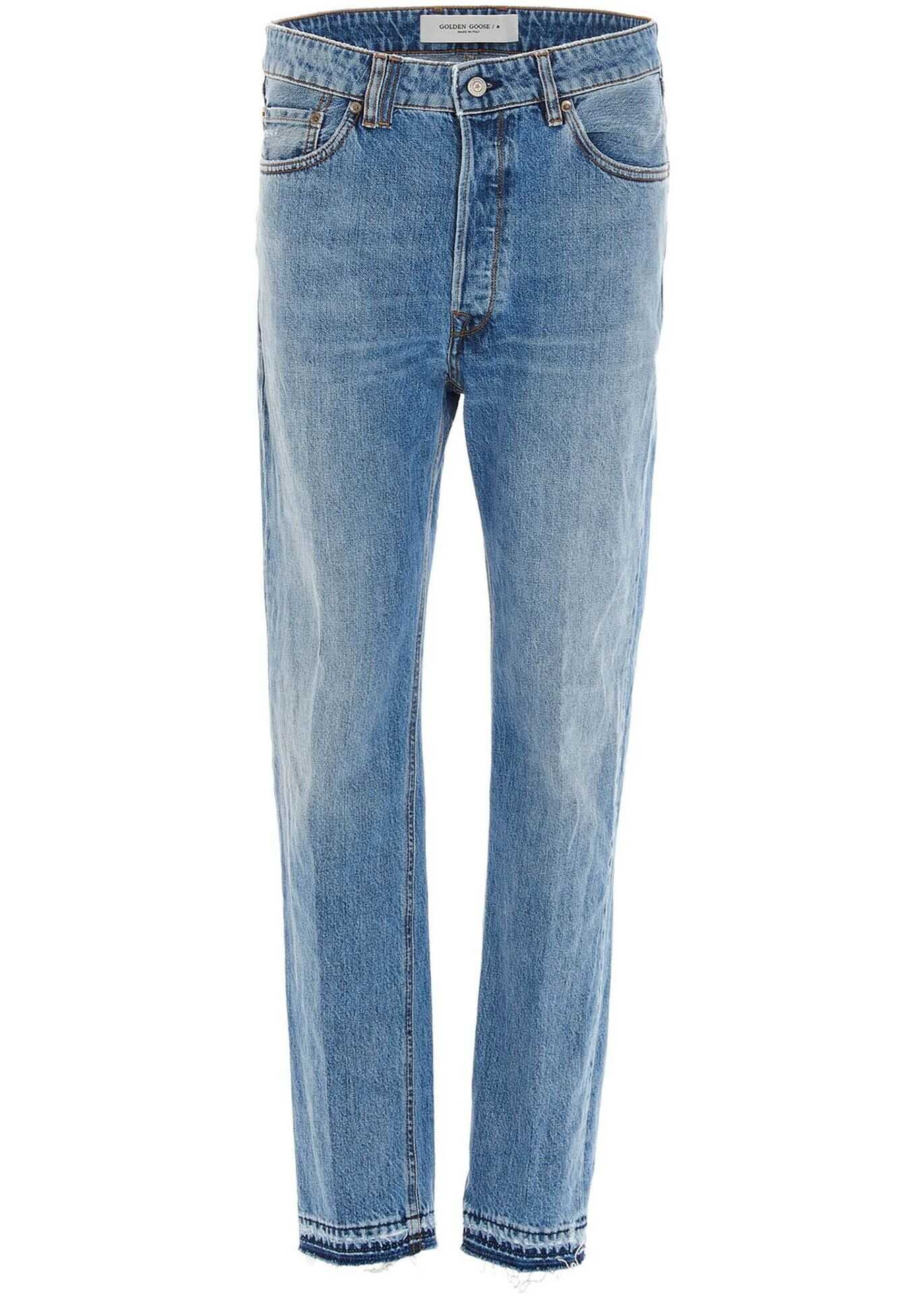 Golden Goose Jeans With Fringed Hem In Blue Blue imagine