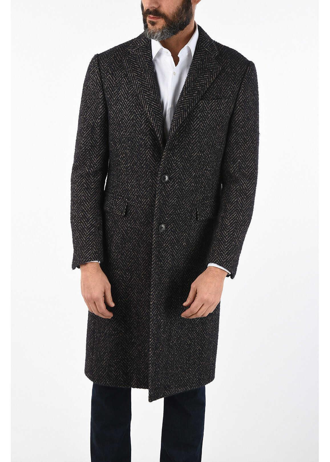 CORNELIANI plain herringbone cashmere and virgin wool coat MULTICOLOR imagine