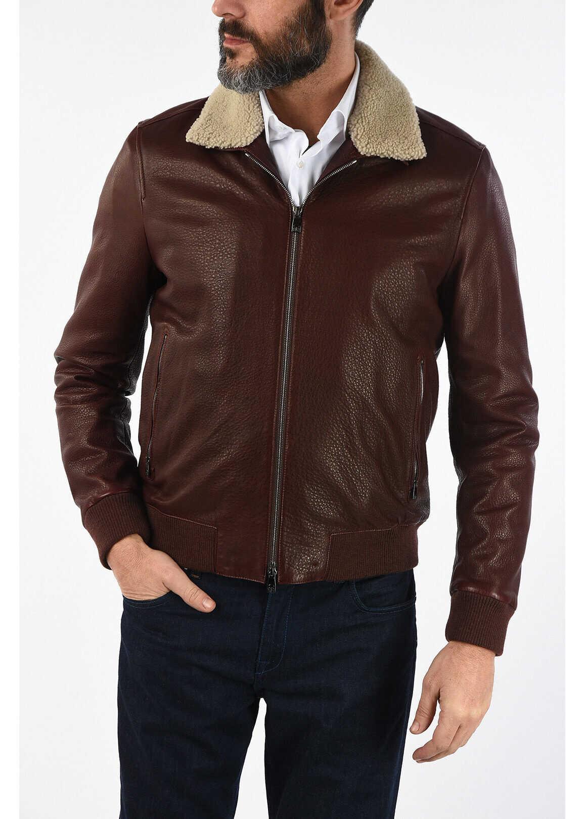 CORNELIANI ID leather flight jacket BURGUNDY imagine