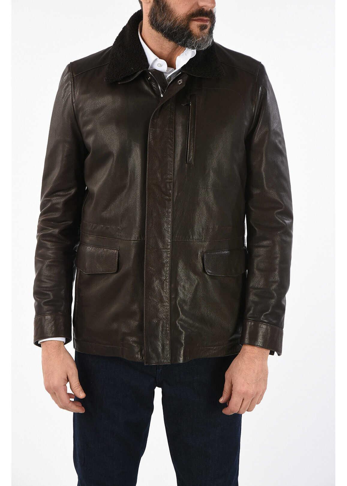 CORNELIANI ID leather PLJMAN NAP flight jacket BROWN imagine