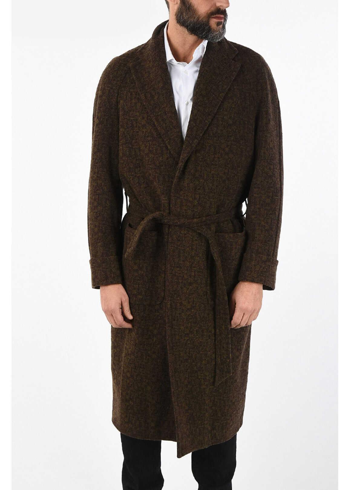 CORNELIANI virgin wool single breasted trench BROWN imagine