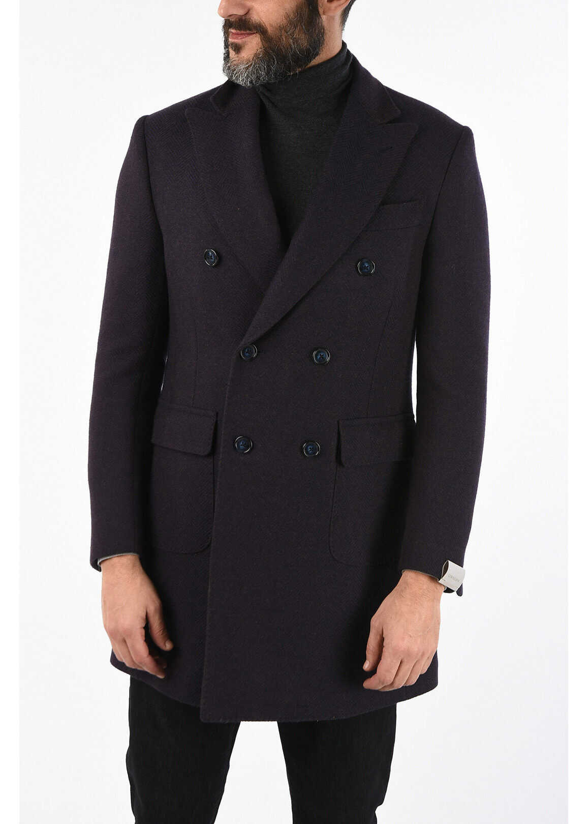 CORNELIANI cashmere and virgin wool hidden closure coat VIOLET imagine