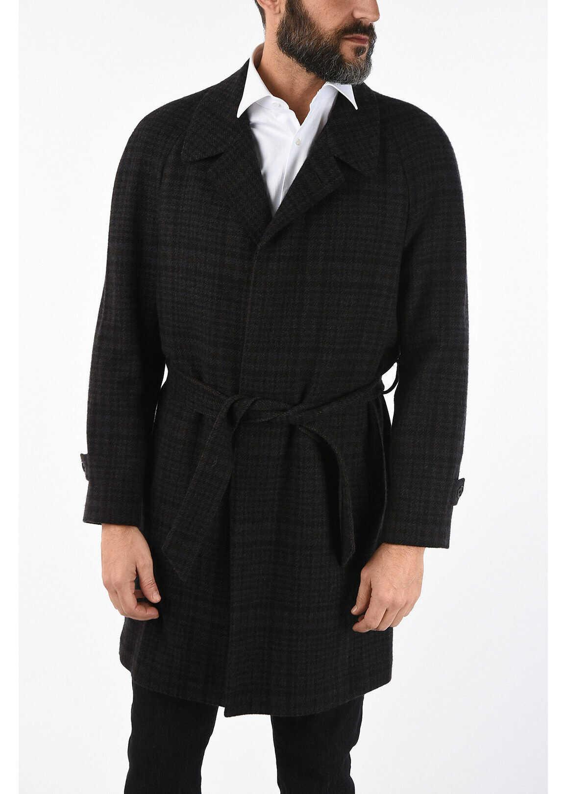 CORNELIANI tartan cashmere coat MULTICOLOR imagine