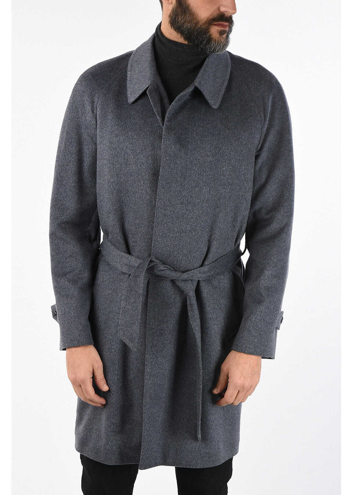 CORNELIANI Cashmere coat GRAY imagine