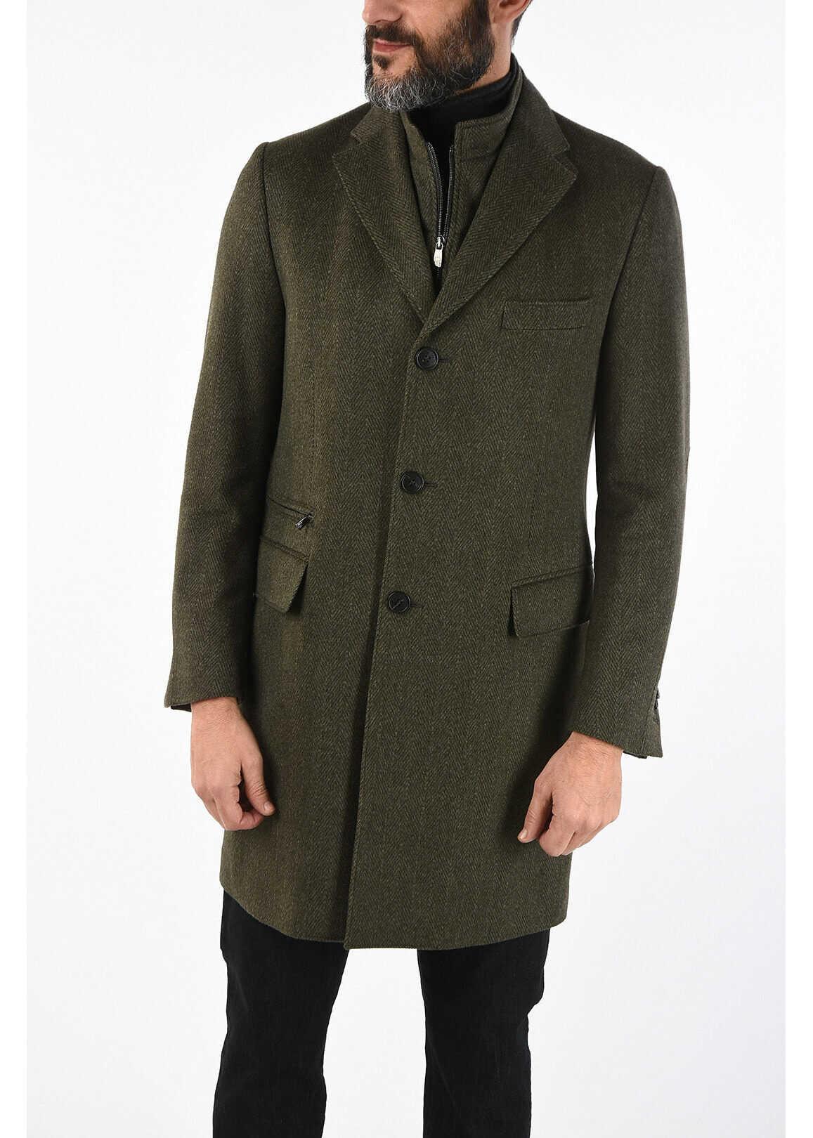 CORNELIANI ID plain herringbone virgin wool IDENTITY coat GREEN imagine