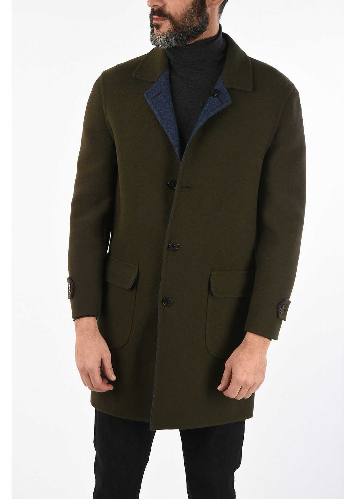 CORNELIANI virgin wool and cashmere reversible coat GREEN imagine