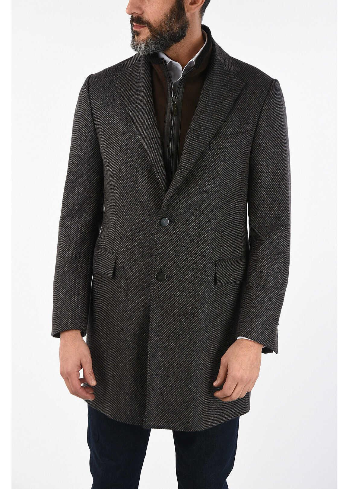 CORNELIANI ID plain herringbone cashmere IDENTITY coat MULTICOLOR imagine