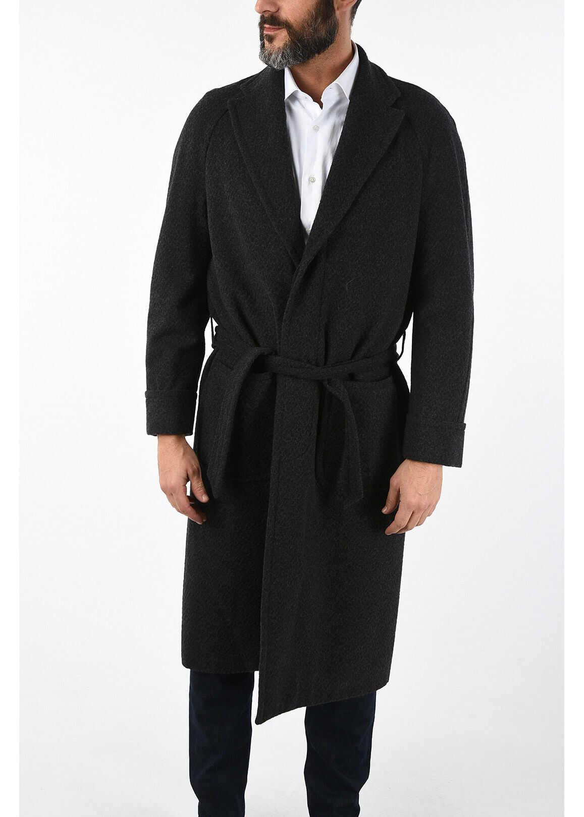 CORNELIANI cashmere and virgin wool single breasted trench GRAY imagine
