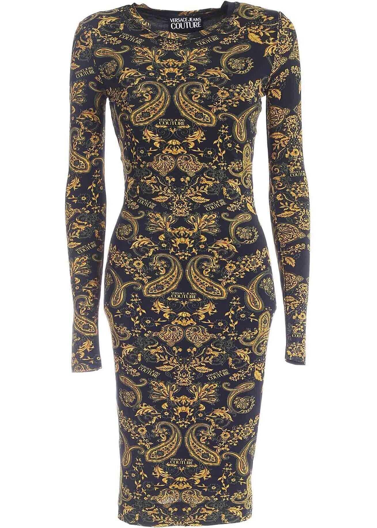 Versace Jeans Couture Paisley Loop Print Dress In Black* Black