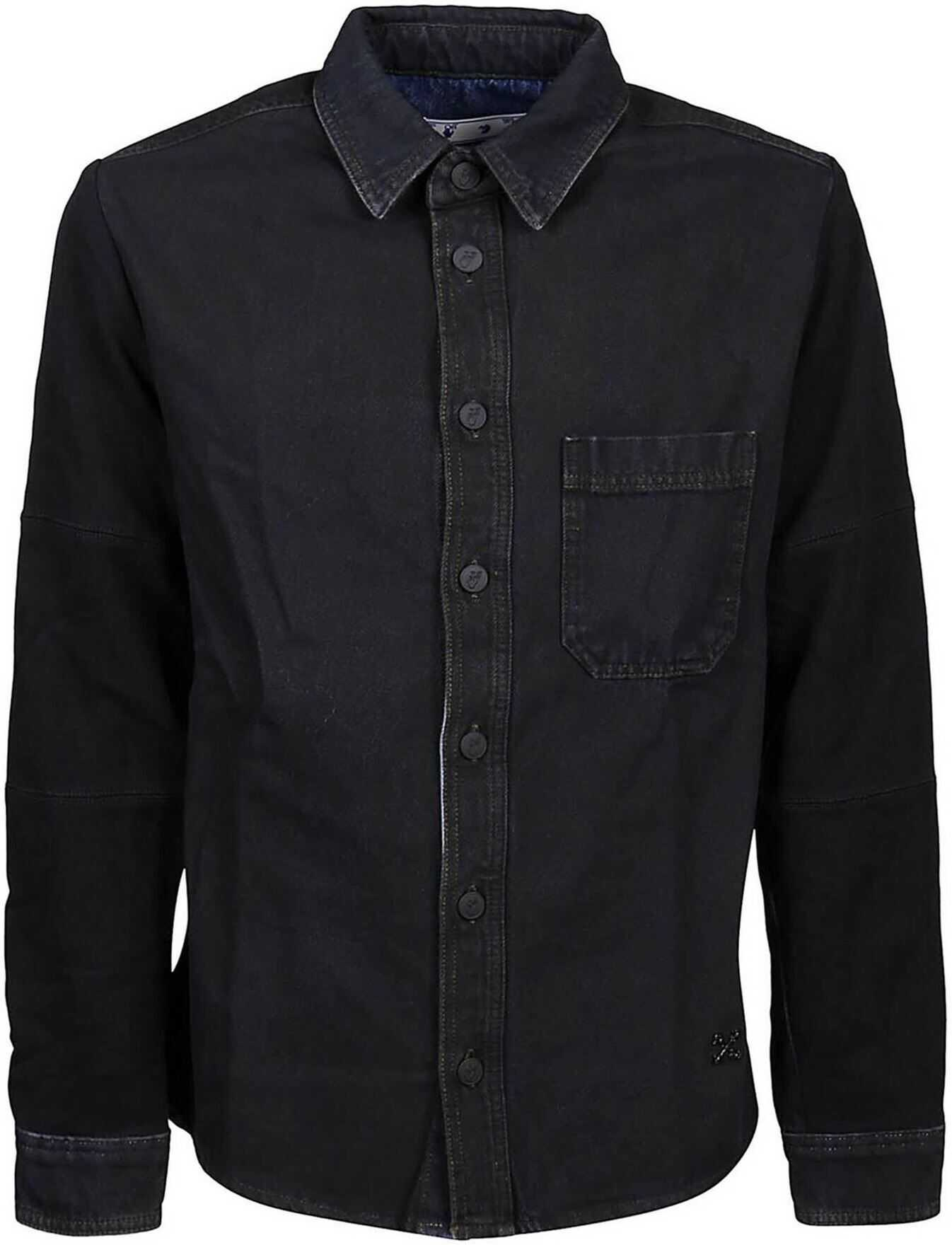 Off-White Denim Shirt In Black Black imagine