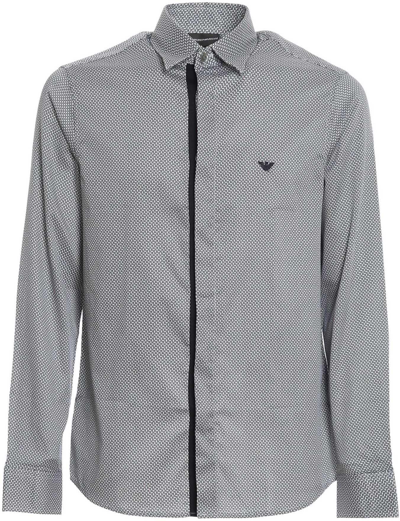 Emporio Armani Stretch Cotton Patterned Shirt In Grey Blue imagine