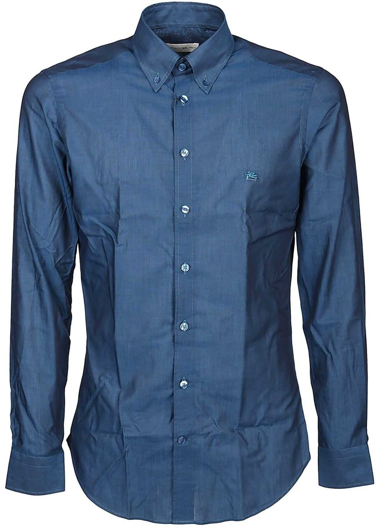 ETRO Cotton Poplin Shirt In Blue Blue imagine