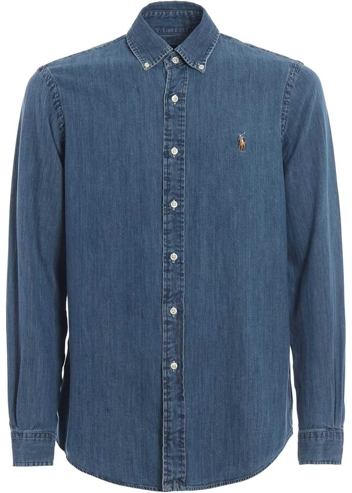 Ralph Lauren Cotton Denim B/D Shirt Blue imagine