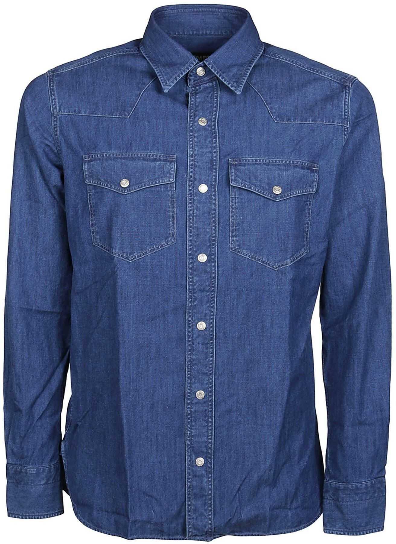 Tom Ford Denim Shirt In Blue Blue imagine