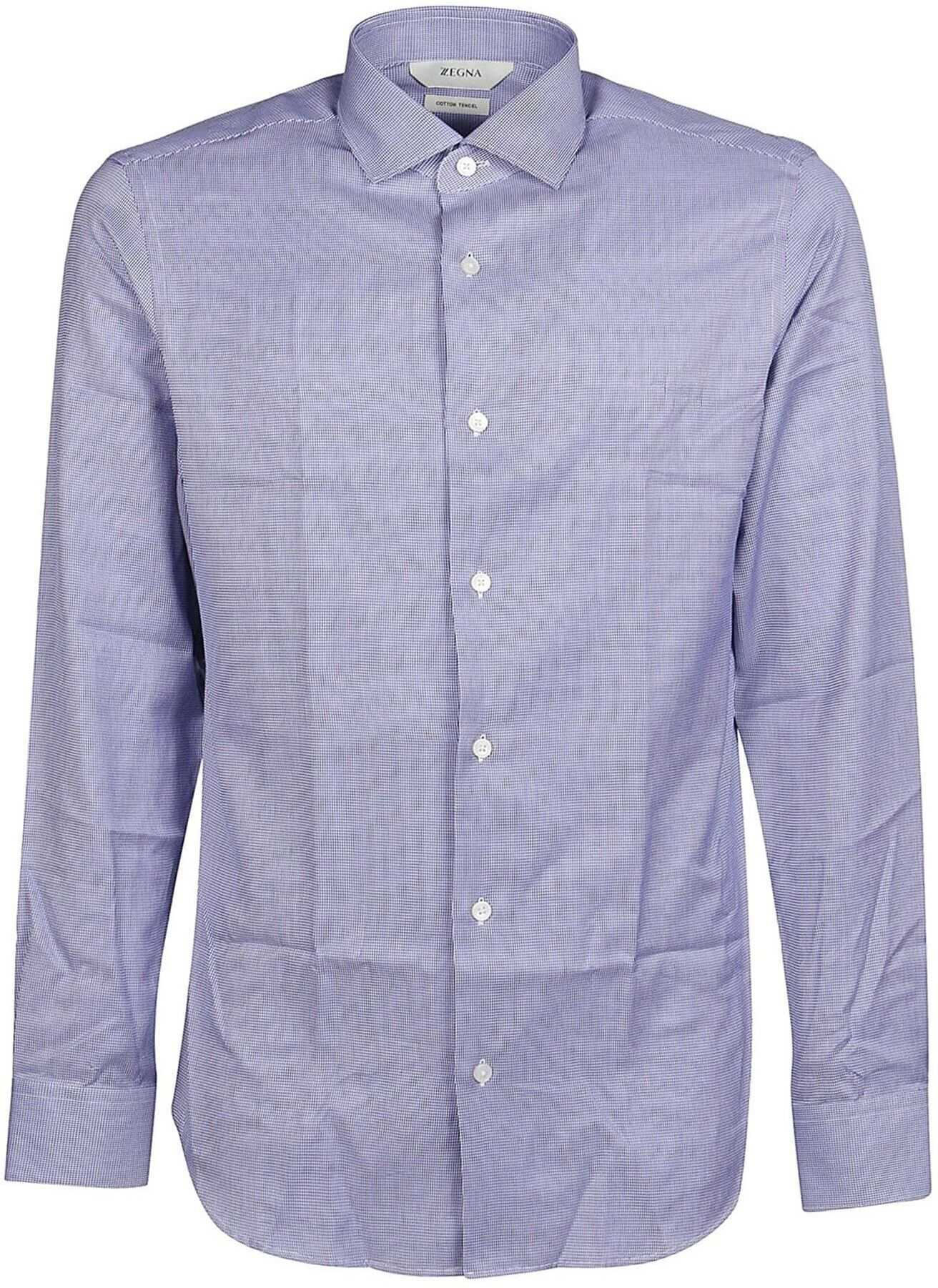 Z Zegna Micro Check Cotton Shirt In Light Blue Light Blue imagine