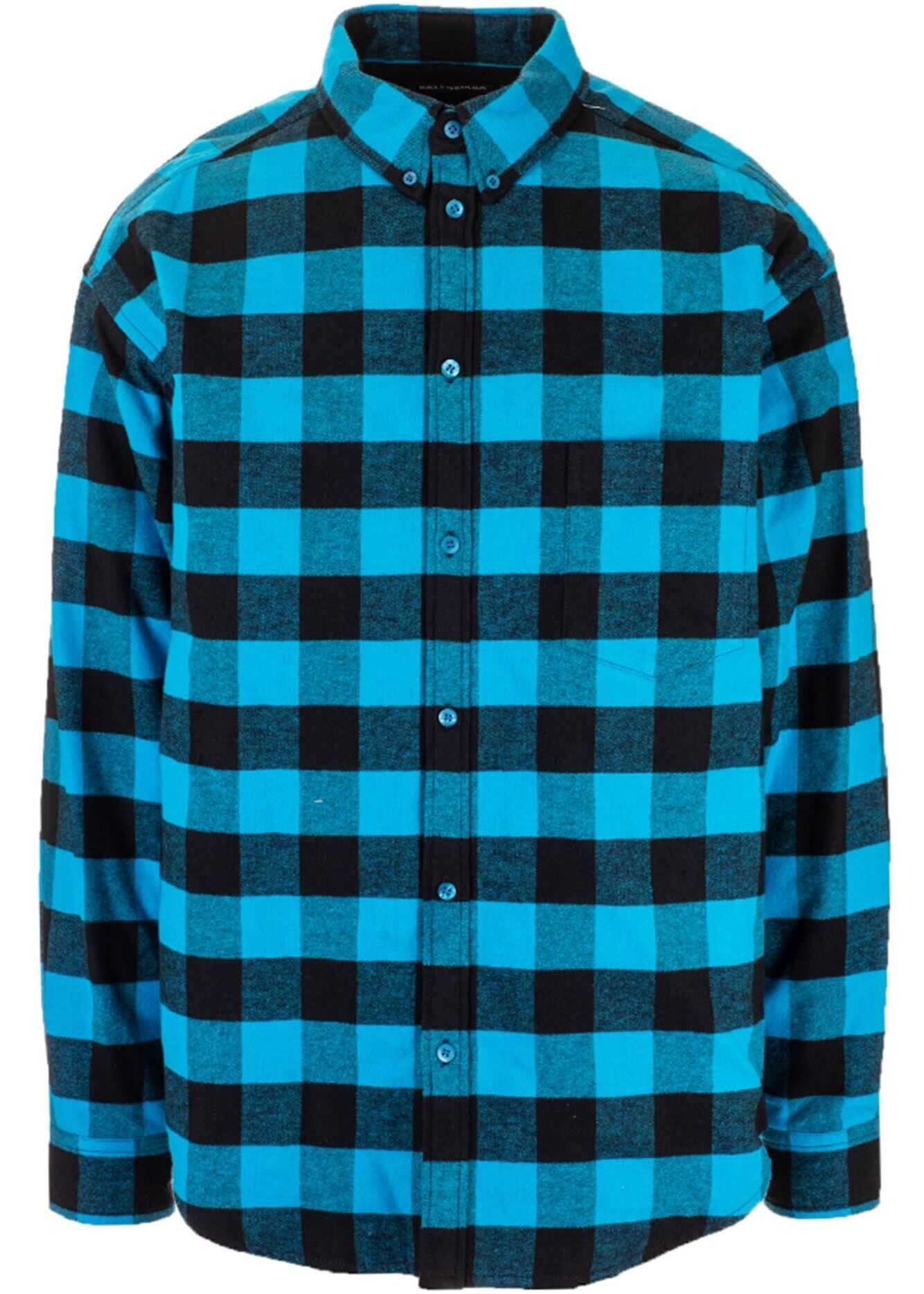 Balenciaga Checked Shirt In Blue And Black Light Blue imagine