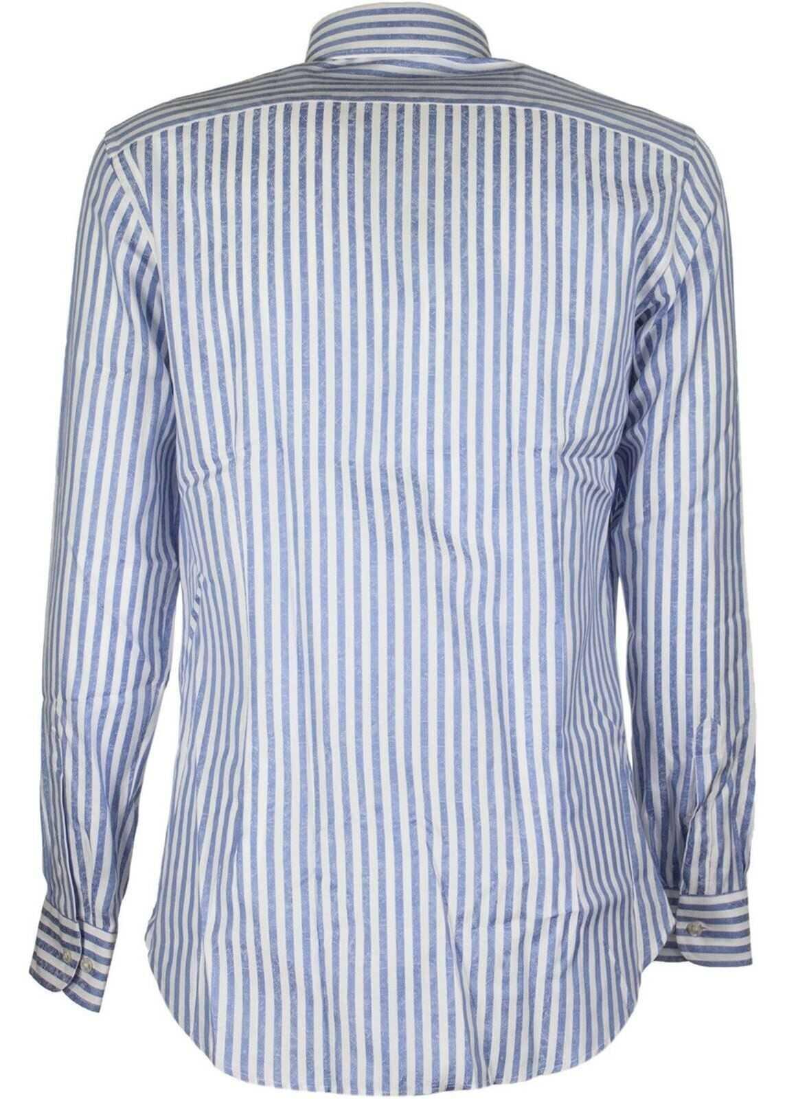 ETRO Striped Button Down Collar Shirt Light Blue imagine