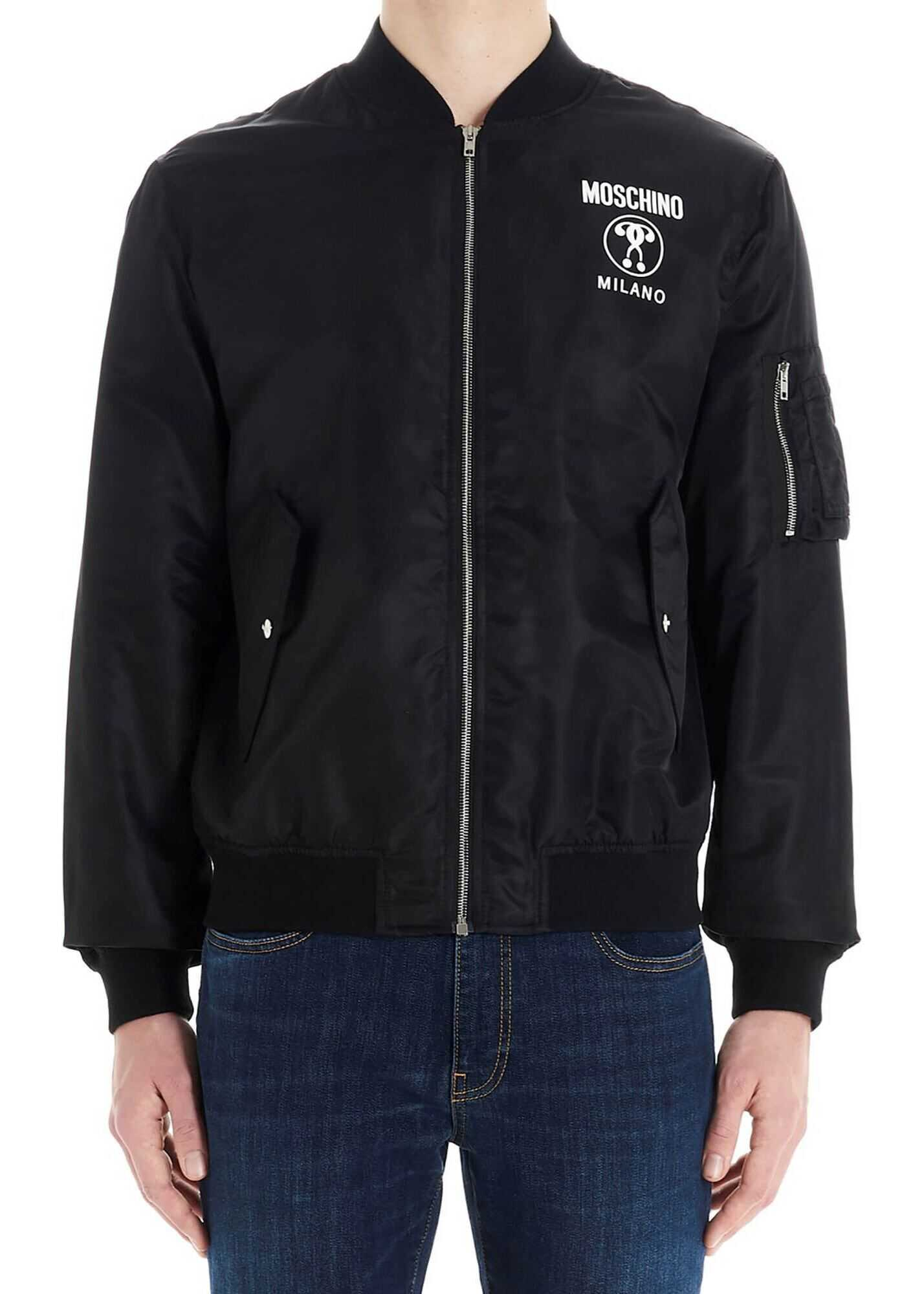 Moschino Double Question Mark Bomber Jacket In Black Black imagine