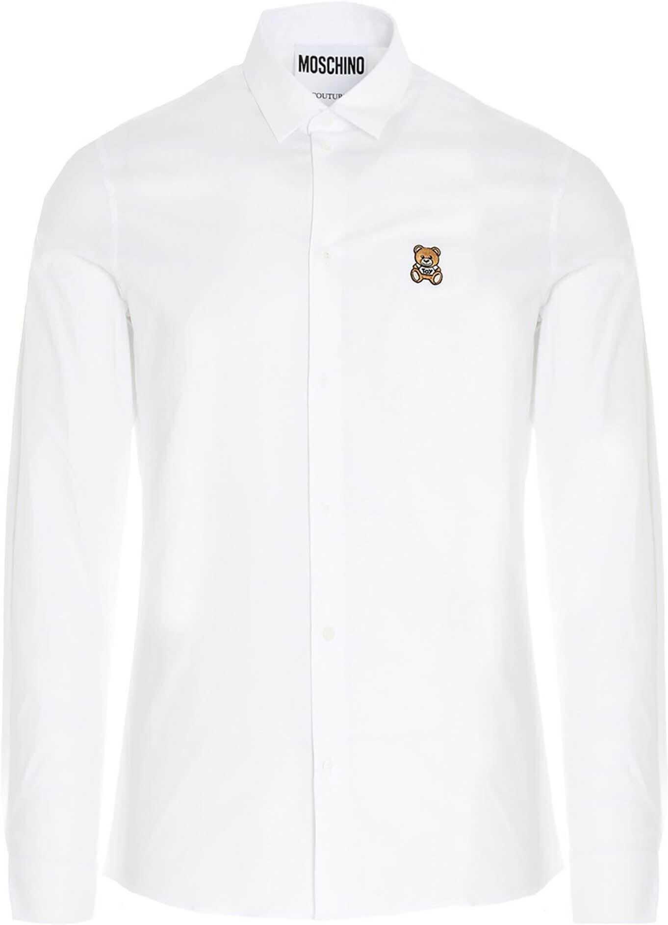 Moschino Teddy Patch Shirt In White White imagine