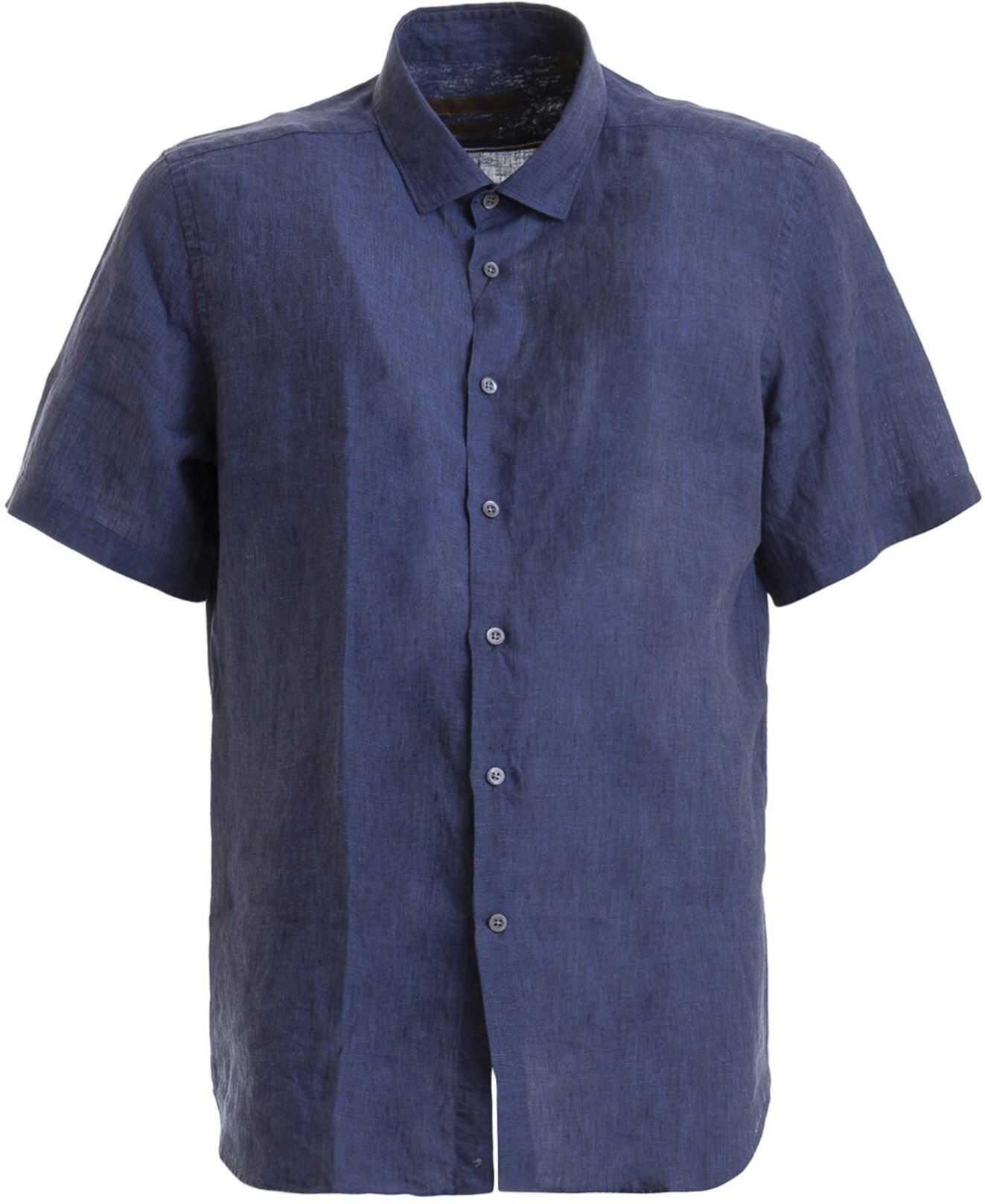 CORNELIANI Blue Linen Short Sleeve Shirt Blue imagine
