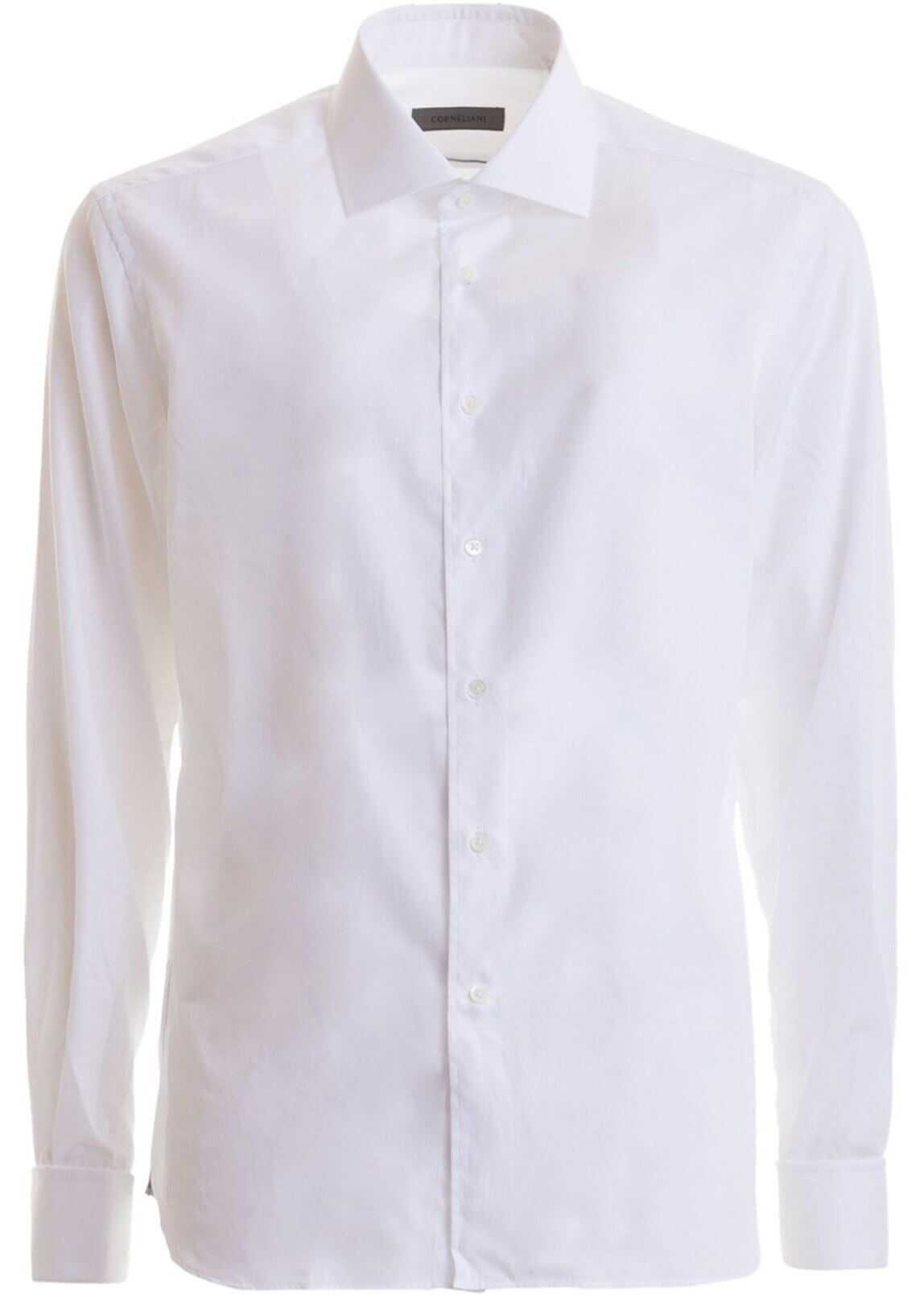 CORNELIANI White Cotton Shirt With French Cuffs In White White imagine