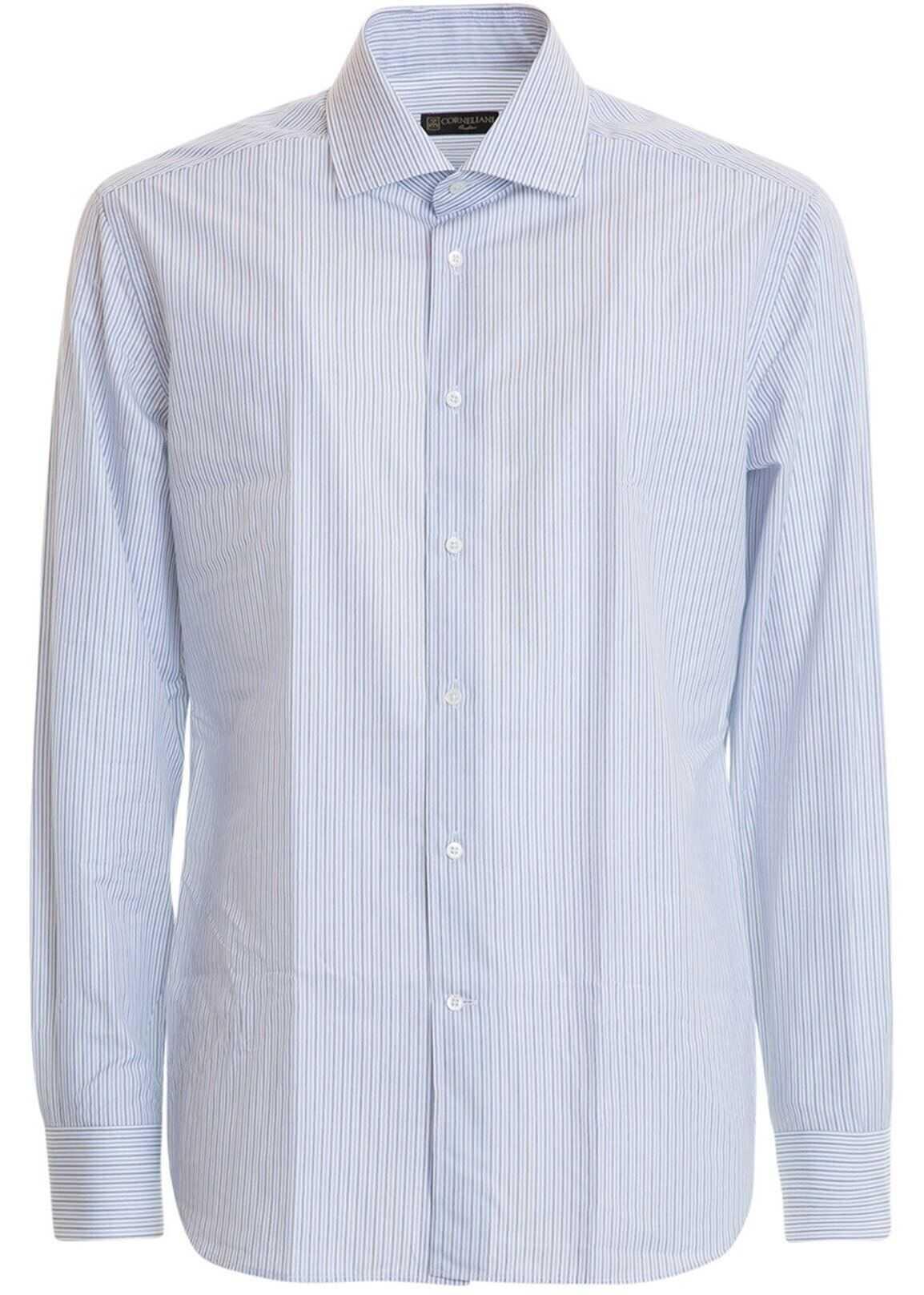 CORNELIANI Striped Cotton Poplin Shirt In Light Blue Light Blue imagine