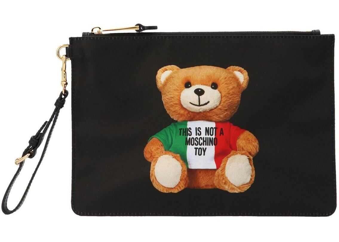 Moschino Italian Teddy Bear Clutch In Black 844482131555 Black imagine b-mall.ro