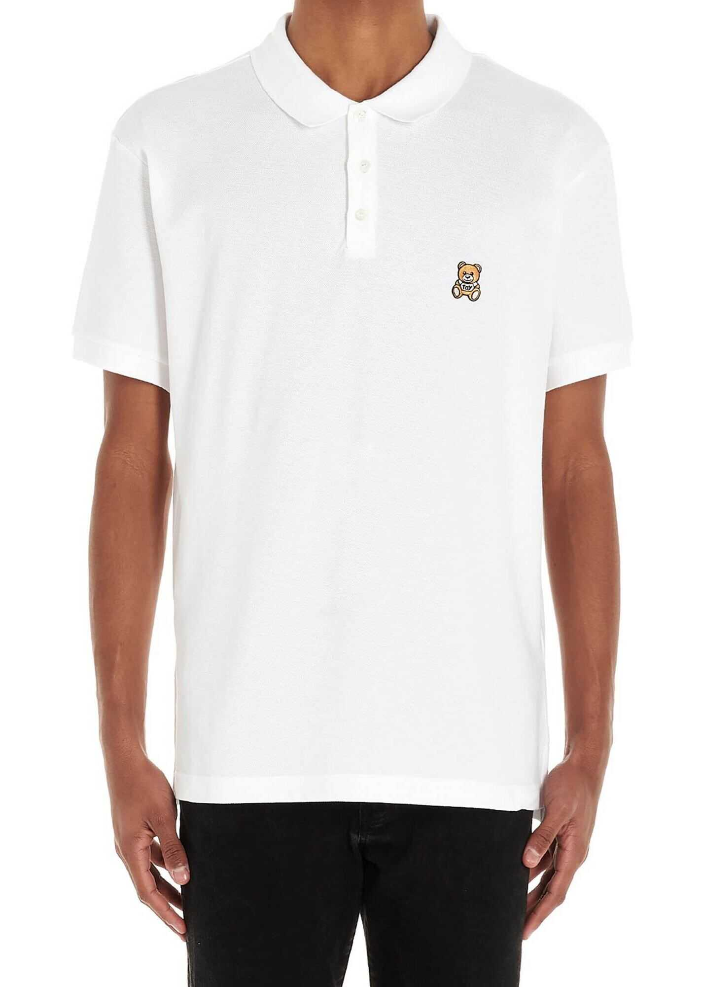 Moschino Teddy Bear Patch Polo Shirt In White White imagine