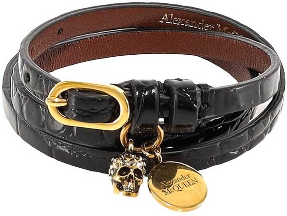 Alexander McQueen Skull Leather Bangle In Black Black