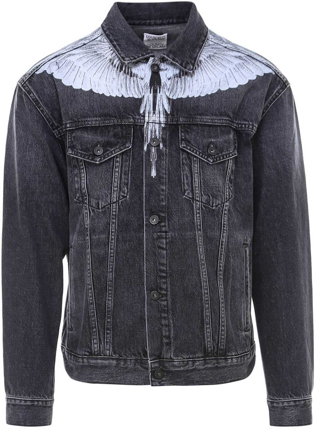 Marcelo Burlon Wings Stonewash Denim Jacket In Black Black imagine