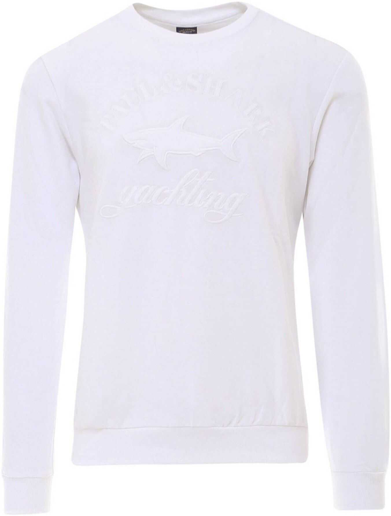 Paul&Shark Embroidered Cotton Sweatshirt In White White imagine