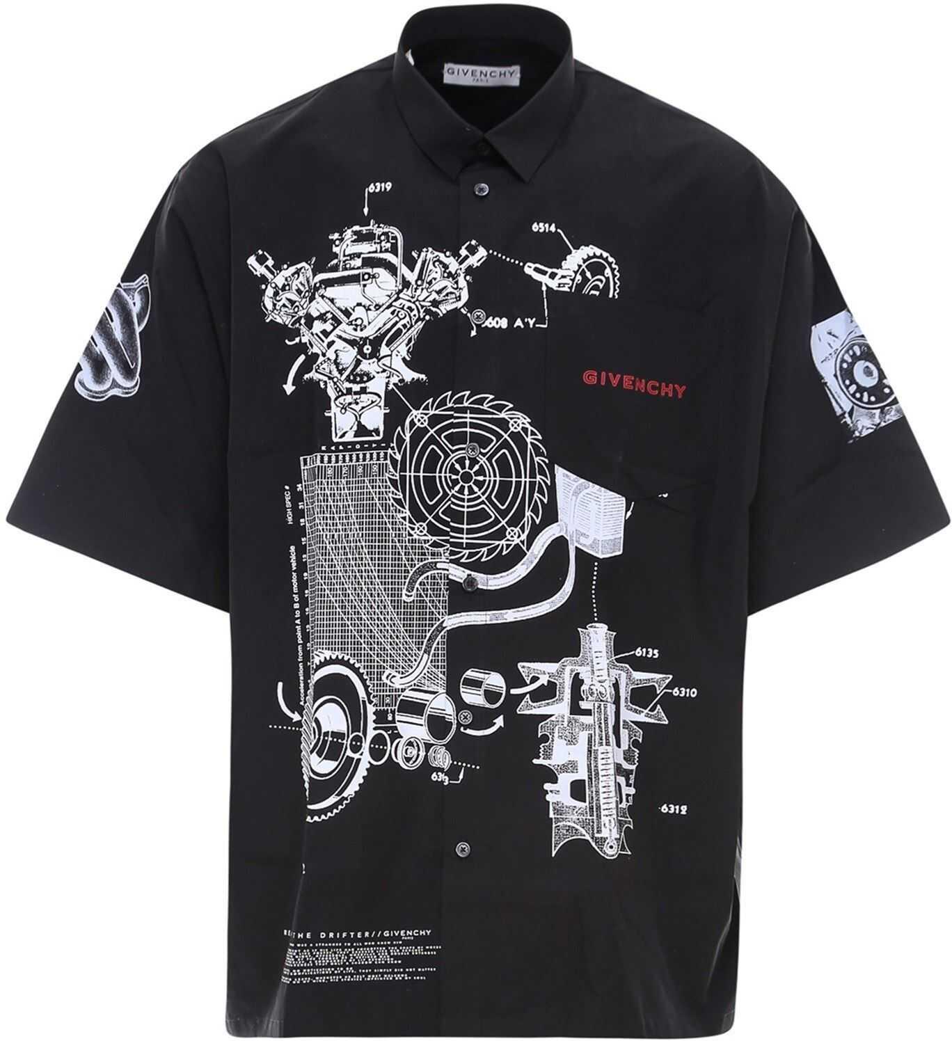 Givenchy Schematics Cotton Shirt In Black Black imagine