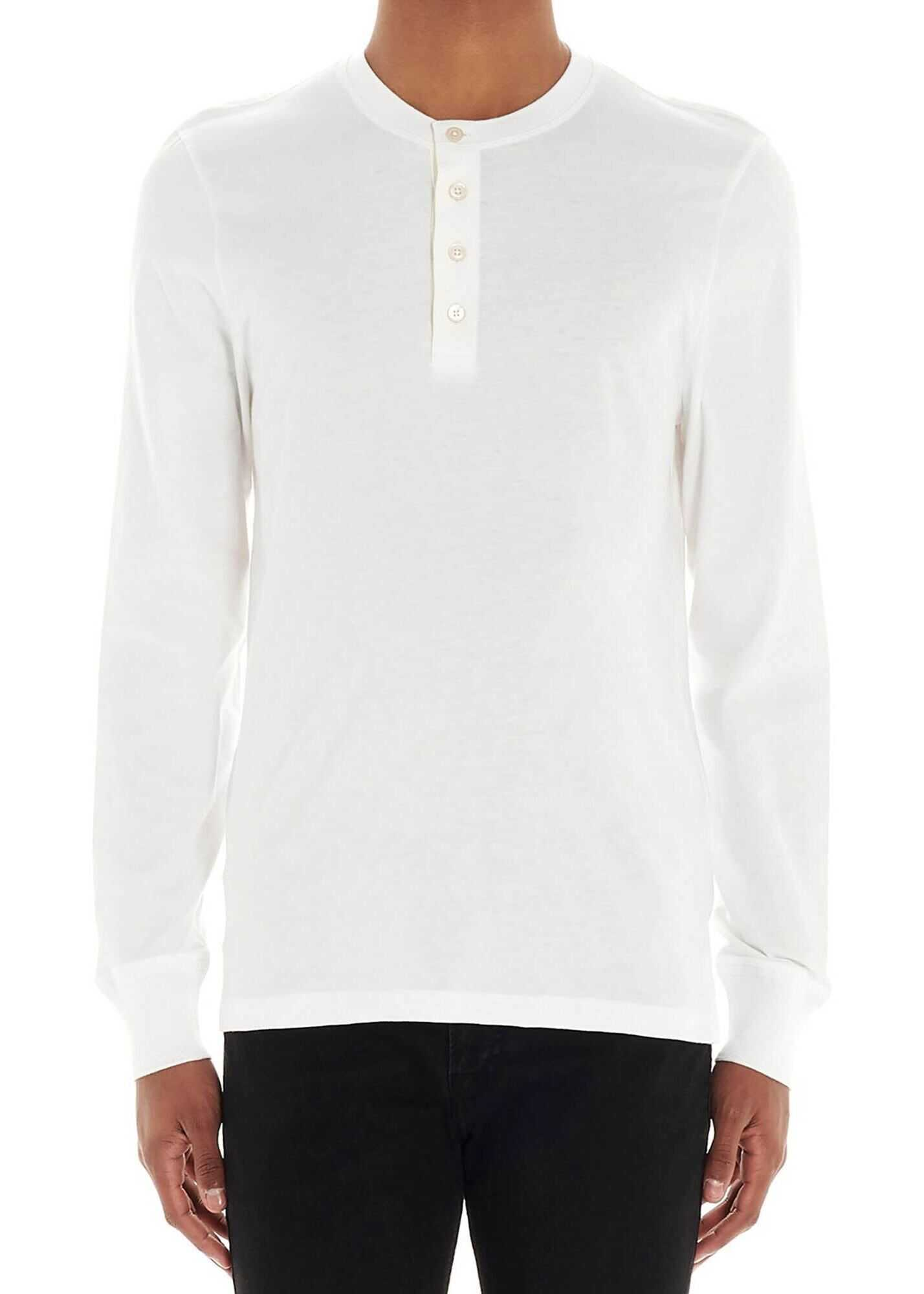Tom Ford Henley T-Shirt In White White imagine