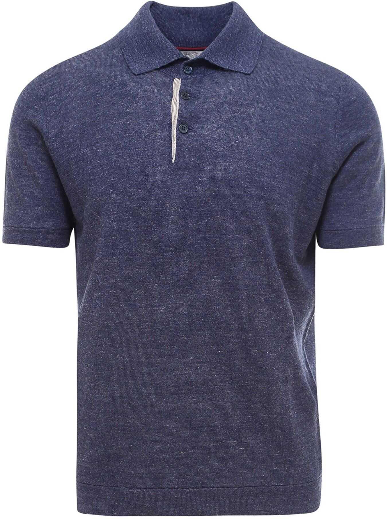 Brunello Cucinelli Linen Cotton Blend Polo Shirt In Blue Blue imagine