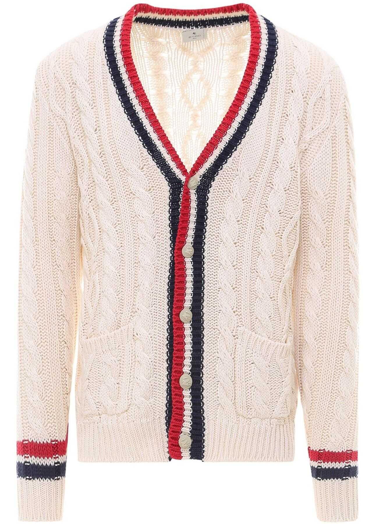 ETRO Cable Knit Cotton Cardigan In Beige Beige imagine