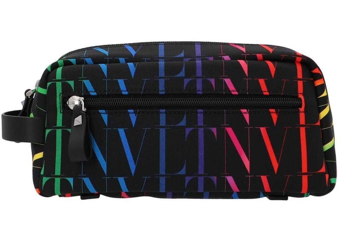 Valentino Garavani All-Over Logo Beauty Case In Black VY2P0R94ZFZN78 Black imagine b-mall.ro