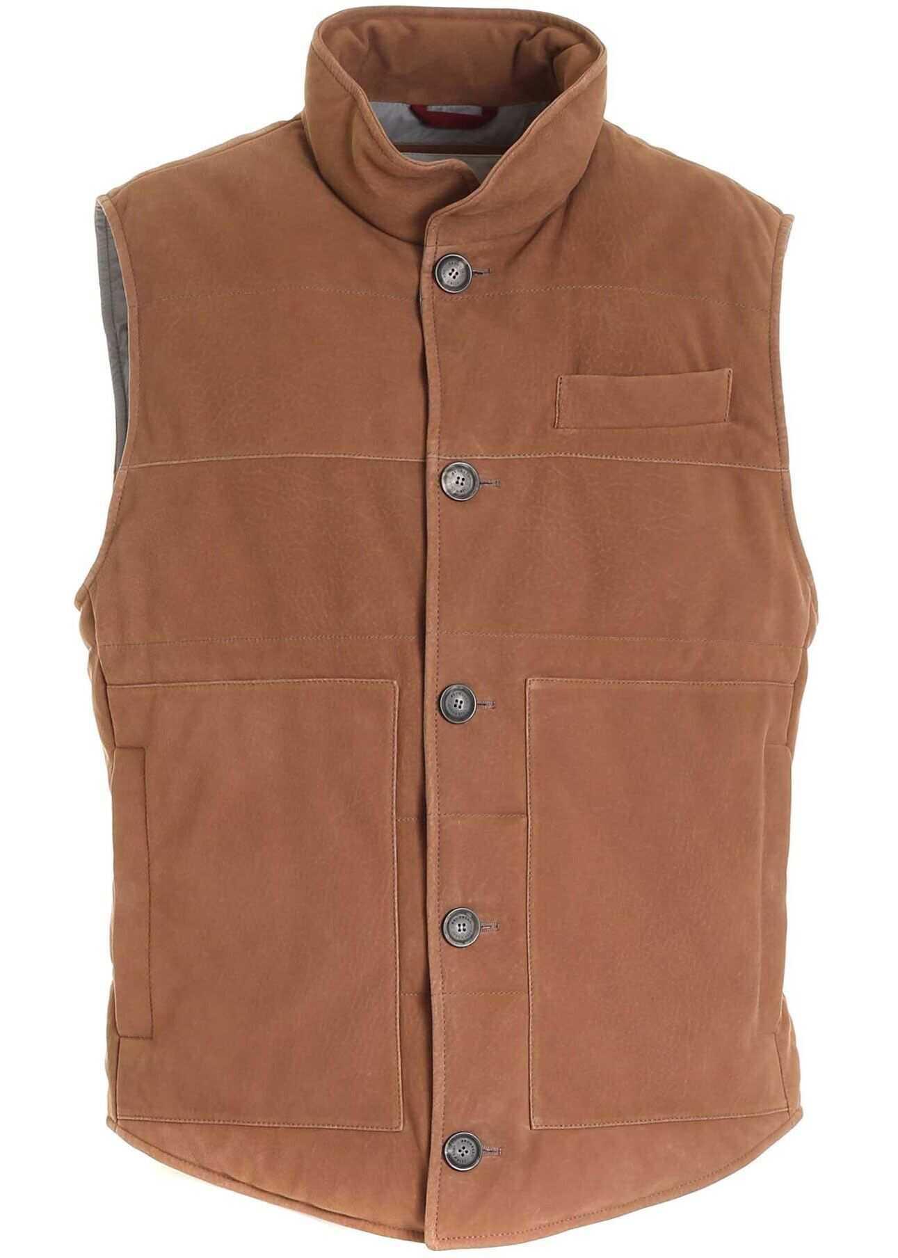 Brunello Cucinelli Pockets Vest In Brown Brown imagine